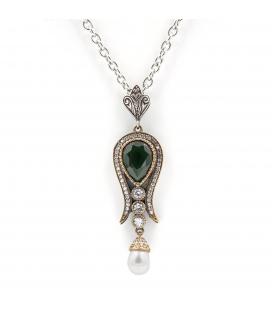Gargantilla y colgante de plata 925 con cuarzos blancos,verdes y perla de agua dulce