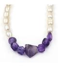 Collar de perlas cultivadas barrocas y amatistas irregulares