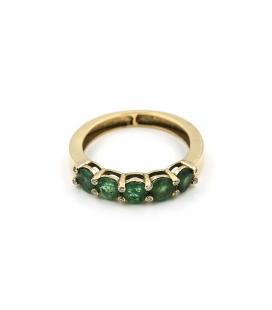 Sortija de oro amarillo con esmeraldas y diamantes