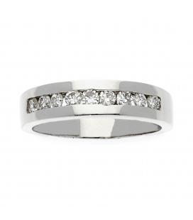 Sortija de oro blanco con banda central de Diamantes