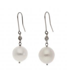 Pendientes Oro Blanco con Diamantes y Perlas Fresh Water