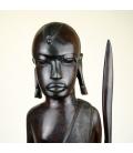 Talla de guerrero masái en madera de ébano - 98cm